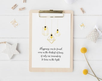 Harry Potter Print - Wall Art - Harry Potter Gift - Albus Dumbledore Quote Print - Happiness Quote Print - Inspirational Print - A4/A5 Print