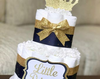 Navy Diaper Cake, Boy Little Prince Navy Gold Royal Crown, Baby Shower Centerpiece, Baby Shower Decor, Baby Shower Gift, Royal Baby, 2 Tier
