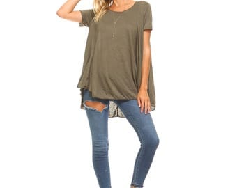 Women's Olive Flowy Tunic, High Low Top, Short Sleeve, Flowy, Ladies Swing Tunic, Plus Size Tunic, Size S M L XL 1X 2X 3X - Made in USA