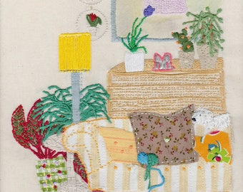 Cosy Sofa, Embroidery on Print, Wall Decor, Interior, Art Print, Giclee Print, Print, Interiors on Print