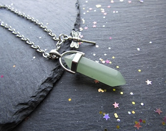 Green Aventurine Necklace with Dragonfly, Green Stone Necklace, Green Aventurine, Dragonfly Necklace, Gemstone Jewelry, Boho Necklace, Green