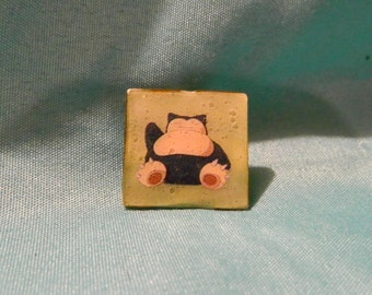Snorlax - Pokemon - Upcycled Hat/Lapel Pin