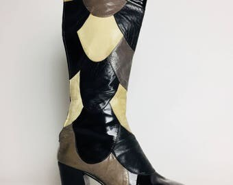 Vintage 70's  NORDSTROM BEST Leather Patch Work Boots