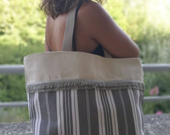 Tote bag - Printed cotton and unbleached cotton canvas grey mouse - stripe grey fringe