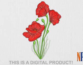 INSTANT DOWNLOAD - Poppys machine embroidery design. Flowers embroidery. Plants embroidery. Flowers. Embroidery file