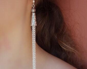 Silver threader earrings Silver earrings Silver Tassel earrings tassel long earrings cheap earrings trendy earring Christmas Gift For Friend