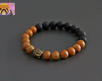Wood Grain Jasper Lava Essential Oil Diffuser Bracelet-Wrist Mala-Copper Buddha Head-Gemstones-Beaded Bracelet-Yoga Jewelry-Boho Chic-Unisex