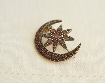 Edwardian Bohemian GARNET Crescent Moon and Star Pin Brooch, Antique GARNET Jewelry