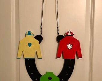 Kentucky Derby, Derby Door Hanger, Jockey, Front Door Hanger, Talk Derby to Me, Hand Painted, Ready To Ship
