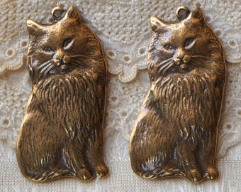 Victorian Style Kitten Kitty Cat Antique Golden or Bronze Tone Oxidized Polished Brass  Made in USA 1 Piece