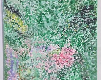 Impressionist Garden Original Acrylic Painting on Canvas 9x12