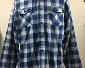 70's Plaid Levis Mens Button Up Shirt // Size XL // Made in USA