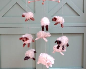 baby mobile, crib mobile, needle felted mobile, baby mobile sheep, nursery decor, baby shower gift, sheep mobile