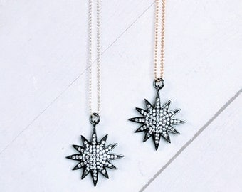 """Starburst CZ Pendant on 16"""" Sterling Silver or 14K Gold Filled Chain Necklace, Starburst Jewelry, Shiny Bead Ball Gold or Silver Necklaces"""