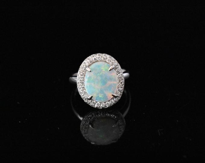 18K White Gold Australian Opal Ring | Engagement Ring | Wedding Ring | Handmade Fine Jewelry | Diamond Halo | Statement Ring