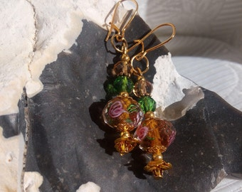golden Earrings with roses and crystal beads