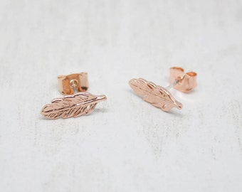 Small earrings rose gold feathers