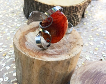 Handmade Fork Cuff Bracelet with Gemstone