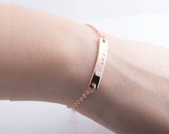 Hand Stamped Your Name Bar Bracelet / Gold, Silver, Rose Gold Plated / Custom Jewelry Birthday Christas Bridesmaids Gift /