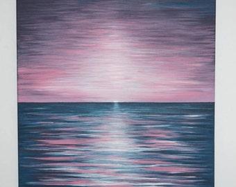 Sunset Horizon-Abstract Acrylic Painting on Canvas