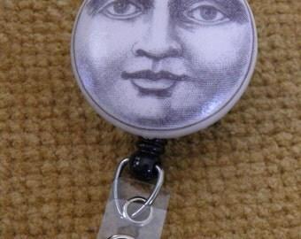 Vintage Moon Face Badge Reel