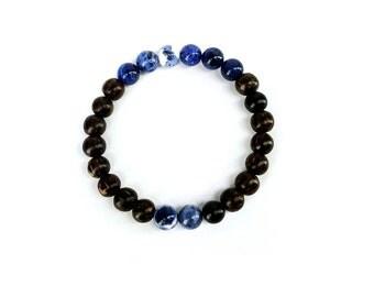 Sodalite and Ebony Wood Mala Bracelet