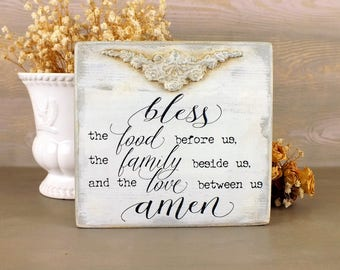 Kitchen sign Bless the food before us Small wooden shelf sitter signs Vintage Rustic decoration Blessing sign Blessed family Dinner blessing