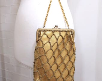 Vintage Gold Evening Bag, Made In Italy