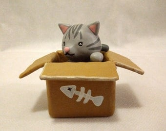 Cat in a box Figurine Sculpture Clay