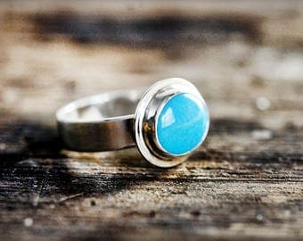 Turquoise Silver Ring, Oval Turquoise Ring, Gifts For Her, Natural Turquoise Ring, Handmade, Sterling Silver, Blue Gemstone, Size 7