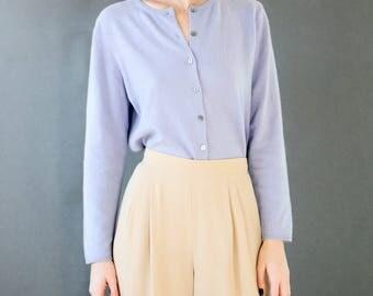 60's Periwinkle Cashmere Sweater | Purple Jacket | Blue Button-Down | S-M