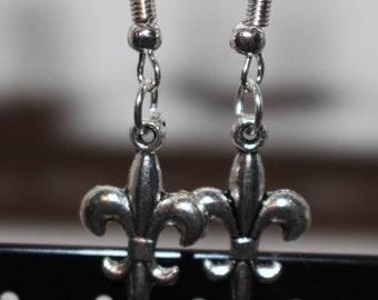 Fleur de lys silver charm earrings