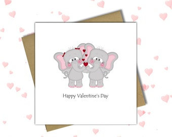 Elephant Valentine Card Valentines Cards For Him For Her Love Card   Elephant  Valentine