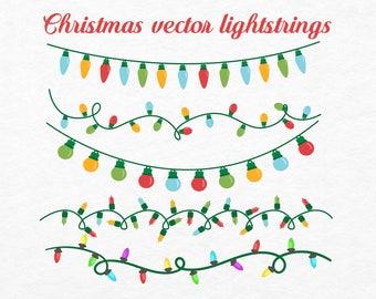 Christmas Lights Clip arts | Holiday Clipart | Christmas Lights Vector | Christmas Lights Digital | Christmas Lightstrings SVG Cut Files
