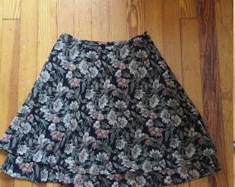 90s Floral Chiffon Skirt - Small