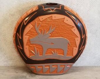 Zuni Laguna Southwest Pueblo Native American Handcarved Flask Vase Pot, Signed