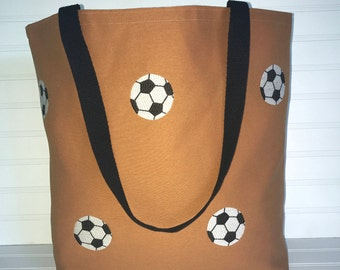 Handmade Everyday Tote | Beach Bag | Orange and Soccer Ball Tote