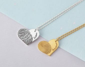 Fingerprint Necklace - Heart Fingerprint Necklace - Memorial Jewelry - Condolence Gift - Fingerprint Jewelry - Necklace with Thumbprint