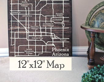 Phoenix Map, Large Wood Map, Phoenix City Map, Phoenix Wall Art, Phoenix Wood Map, Gift, Personalized Map, Custom City Map by Novel Maps