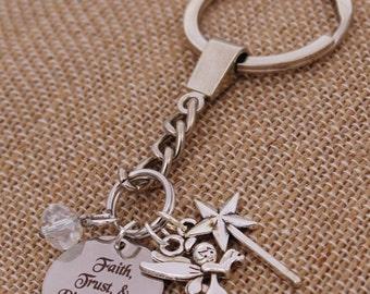 Faith, Trust, and Pixie Dust DISNEY Inspired, Tinkerbell, Star Key Fob Key Chain, Custom Name Charm Keychain