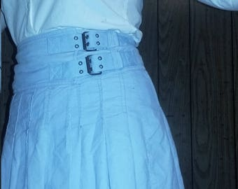 Tommy Hilfiger Baby Blue Corduroy Pleated Mini Skirt
