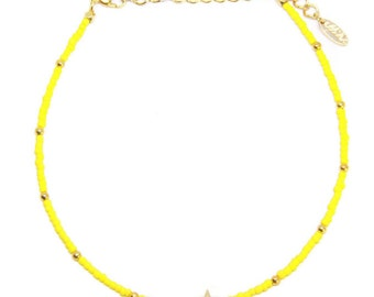 Yellow Gold Choker with Colored Accents - Cute summer choker perfect for any occasion