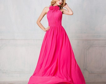 Selena Huan Haltered floor-length chiffon long bridesmaid dress, Multiple colors, Detachable 3D flowers