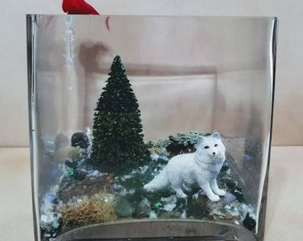 Winter Scene Diorama with tree, wolf & cardinal