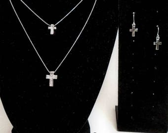 Beautiful double cross necklace with cross earrings, Cross pendant with crystal quartz,