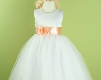 Flower Girl Dress with Curl Tulle Skirt (Peach Sash and Flower) for Baby, Toddler, Girls