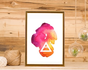 Explore Triangle Wall Art, watercolor printable art, instant download, art printables, boho hipster home decor, bohemian wall decor, gifts