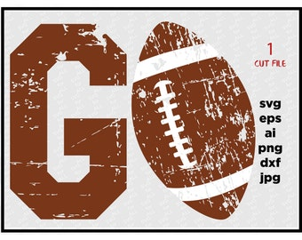 Go football SVG DXF PNG cut file cricut silhouette cameo scrap booking Go  Football Distressed Files,  Cricut Files, Silhouette Files, dxf