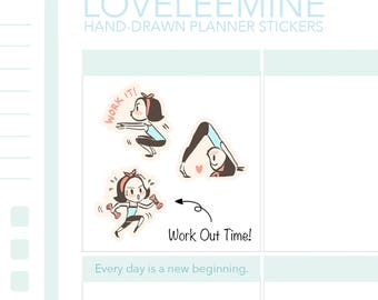 CoCo Work Out, Exercise, Gym, Yoga Planner Stickers