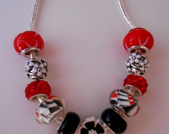 Red, White and Black Charm Bracelet